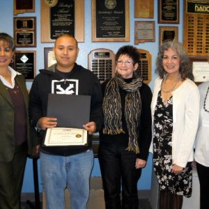 Joseph Meraz, AE Student of the Year Runner-Up, with (left) Assistant Dean Susana N. Rogriguez, tutor Barit, ABE Dean Sylvia D. Nickerson, and LVDAC's Paula Leighton.