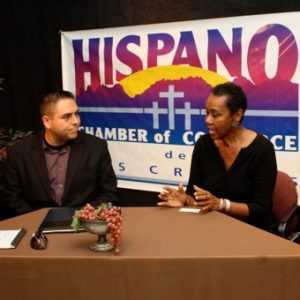 TV interview for the Hispano Chamber's Business Channel program.  Toby Rue, Gabe Sanchez chat with Sheila and Jackie.