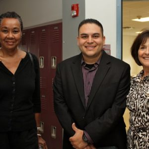 Sheila McCaskill and Jackie Kiefer network with Gabe Vasquez, Executive Director of the Hispano Chamber of Commerce